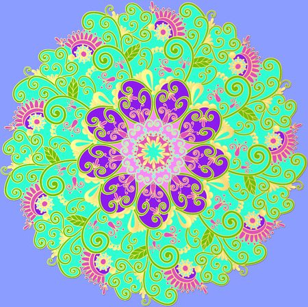 asian and indian ethnicities: illustration mandala with colored ornaments for design