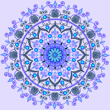 precious stones: illustration background with a circular  ornaments with precious stones Illustration