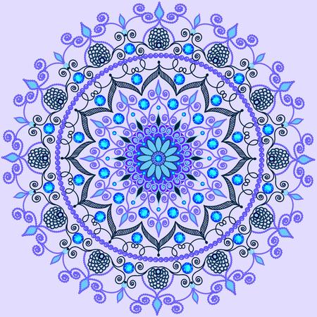 piedras preciosas: ilustración de fondo con una adornos circulares con piedras preciosas Vectores