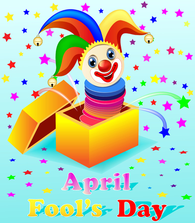practical: April Fools Day illustration with a cheerful clown out of the box