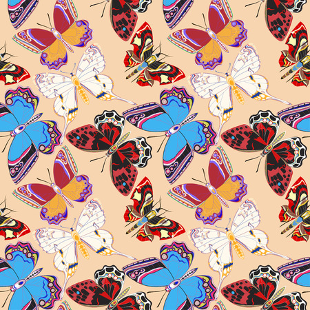 flit: Illustration seamless background decorative colored butterflies flit