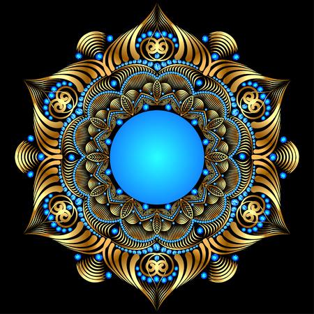 pietre preziose: illustrazione sfondo con ornamenti in oro circolari con pietre preziose