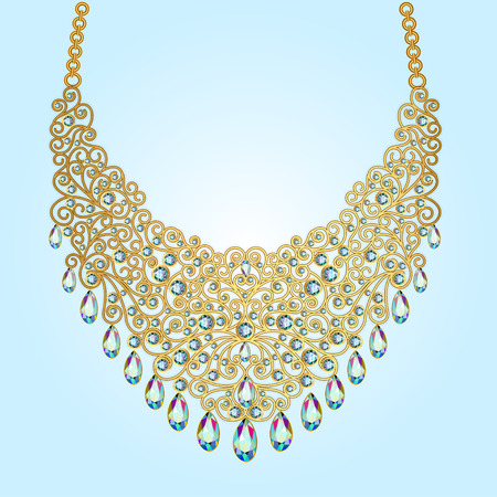 gemstones: illustration a womans necklace of beads and gemstones