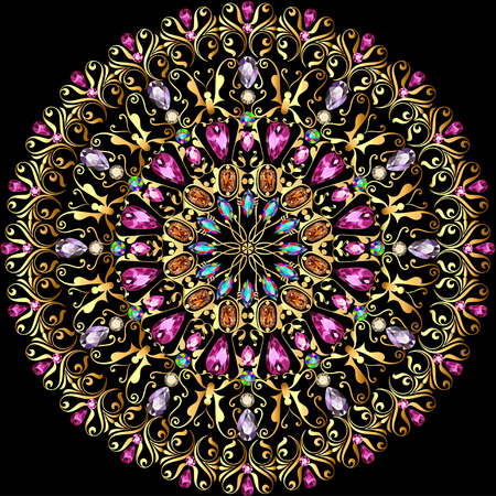 precious: illustration background with a circular gold ornaments with precious stones