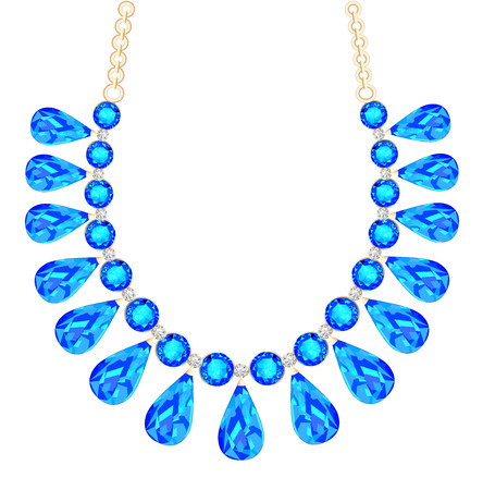 accessory: illustration of a womans necklace with precious stones
