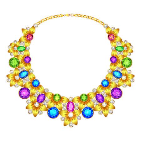 pietre preziose: illustration of a womans necklace with precious stones