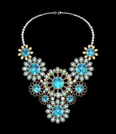 precious stones: illustration of a womans necklace with precious stones
