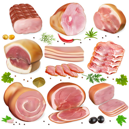 raw beef: illustration of a set of different kinds of meat Stock Photo