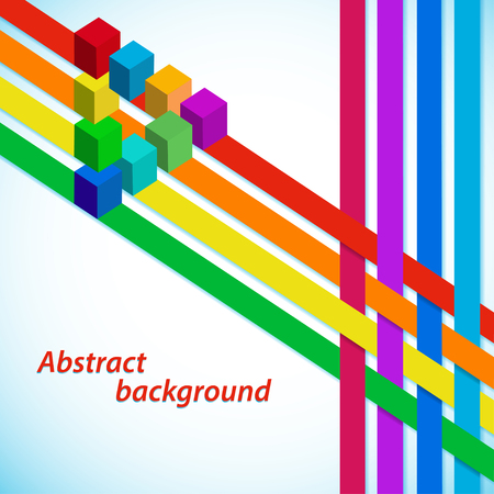 optical illusion: Abstract background with multicolored stripes and cubes illusion