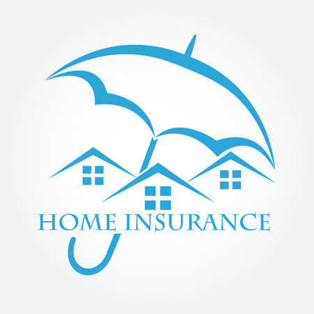 belay: House with umbrella vector icon. Home insurance .