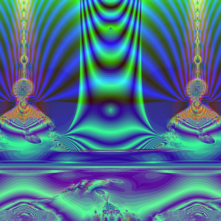 natural phenomenon: Colorful Fractal Background. A fractal is a natural phenomenon or a mathematical set that exhibits a repeating pattern that displays at every scale.fractal illustration of a mysterious Buddha