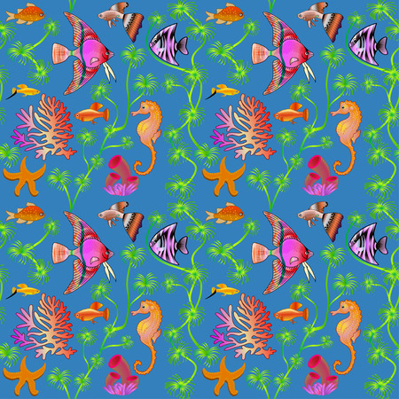 and marine life: illustration seamless pattern marine life with colorful fish, corals, algae
