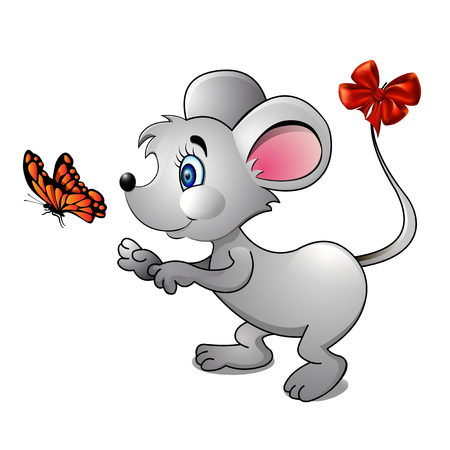 funny pictures: illustration of a cartoon mouse and bright butterfly