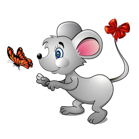 ratones: ilustración de un ratón de dibujos animados y brillante mariposa Vectores