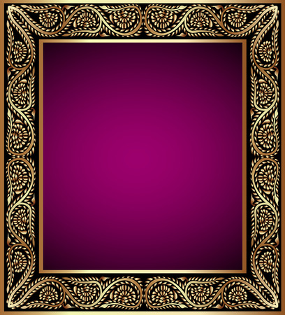 illustration vintage frame with vegetable golden pattern