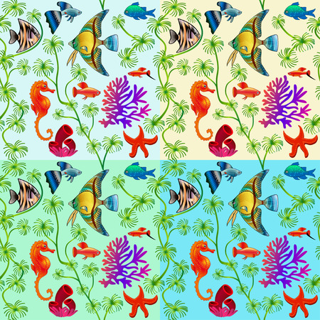 and marine life: set of seamless patterns of marine life with colorful fishes and algae with different background colors