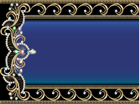 gold frame: illustration background with Golden ornaments with precious stones
