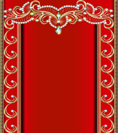 precious stones: illustration background with Golden ornaments with precious stones