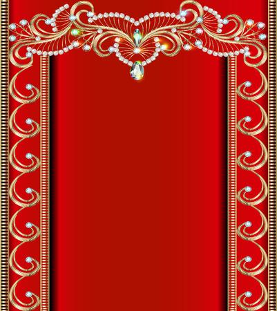 pietre preziose: illustrazione sfondo con ornamenti d'oro con pietre preziose Vettoriali