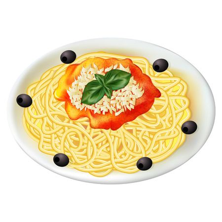 bolognese: illustration Italian pasta with sauce on a plate