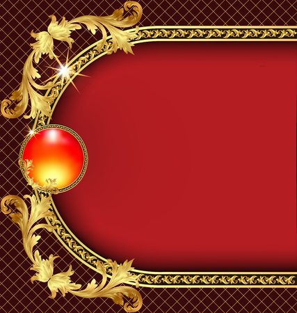 golden frame: illustration background frame with golden pattern Illustration