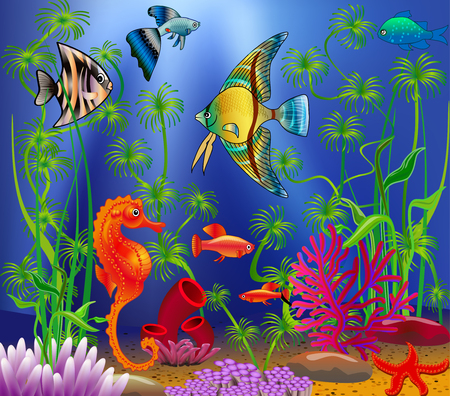 reef: Underwater landscape with various water plants and swimming tropical fish. Illustration