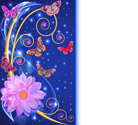 creative beauty: illustration abstract background with flowers and butterflies with gems