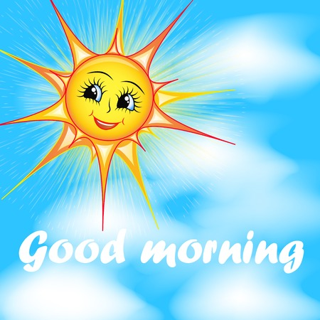 good morning: bright cartoon illustration of a smiling sun in the sky and the words good morning Illustration