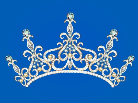 prom queen: Illustration of beautiful female diadem with precious stones
