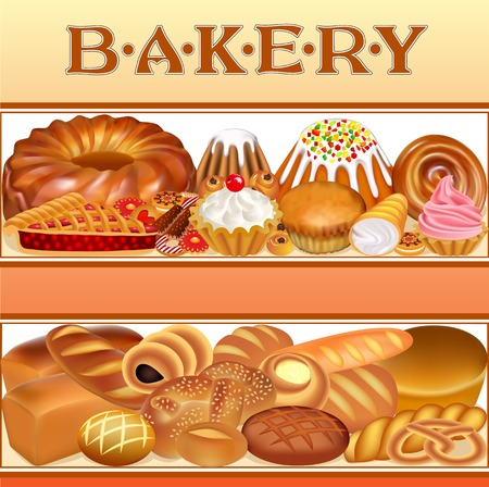 textual: Illustration background with a set of different bread and bakery goods textual inscription