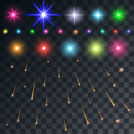 meteors: set vector space flash and stars and meteors on a transparent background