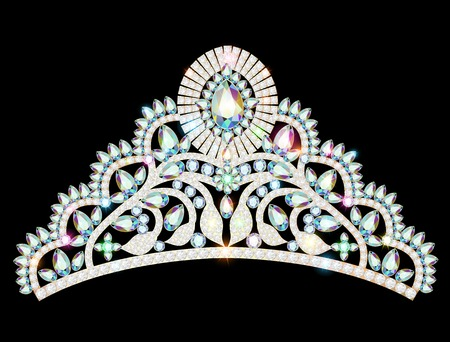 nuptial: illustration vector crown diadem tiara women with glittering precious stones