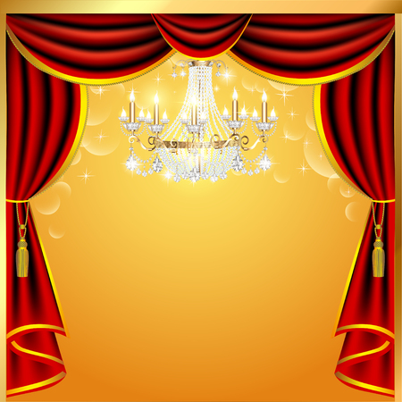 encore: illustration background with curtains and a chandelier with space for text