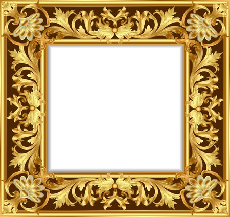 rococo style: illustration vintage border frame engraving with retro ornament pattern in antique rococo style decorative design