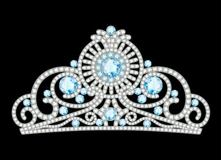 piedras preciosas: Ilustración de la hermosa diadema femenina con piedras preciosas