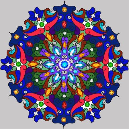ornaments floral: Illustration background circular ornaments of precious stones Illustration
