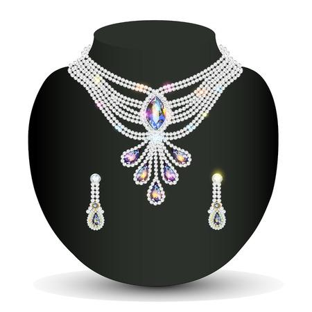 diamond earrings: illustration necklace and earrings, wedding womens diamond