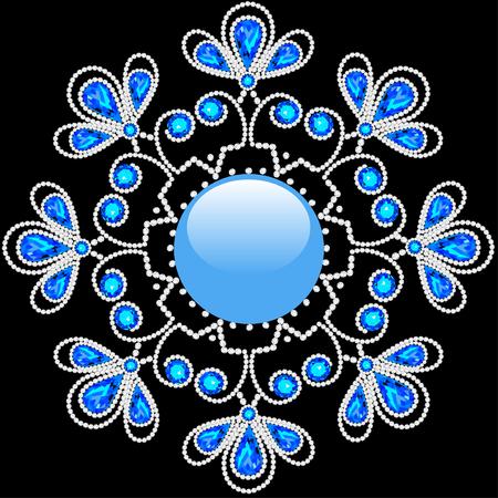 pietre preziose: illustrazione fiocco di neve lucido fatto di pietre preziose su sfondo nero Vettoriali
