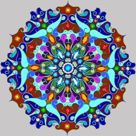 pietre preziose: Illustrazione sfondo ornamenti circolari di pietre preziose