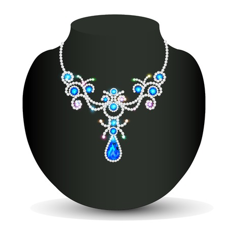 gold necklace: Illustration gold necklace wedding women with gems