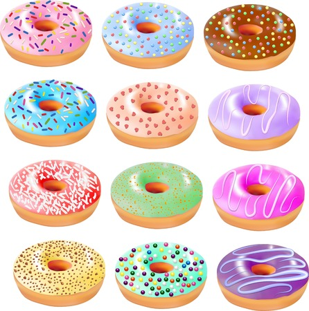 grit: illustration set of colored donuts with icing and different grit