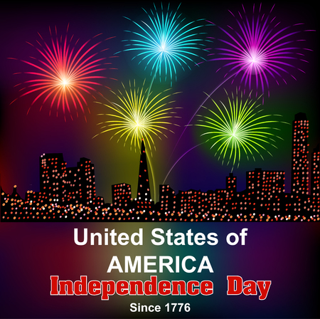 the americas: Card for Americas independence day with fireworks