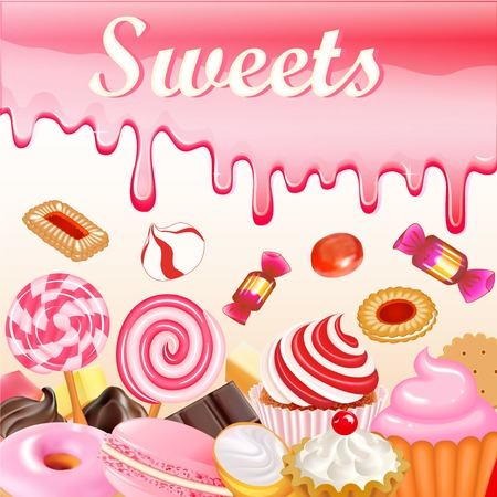 glaze: Sweet dessert food frame background glaze stains. Pink candies, donuts and muffins with strawberry sweets inscription Illustration