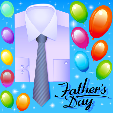 business shirts: illustration card for fathers day with balloons shirt and tie