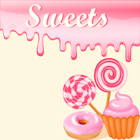 sweet background: Sweet dessert food frame background glaze stains. Pink candies, donuts and muffins with strawberry sweets inscription Illustration