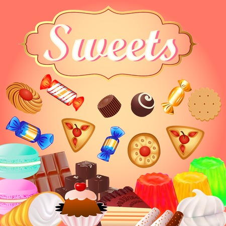 marshmallows: Background with sweet desserts, food, candy, donuts, marshmallows, chocolate. chocolate cake, bagels and cakes with cherries and sweetness inscription Illustration