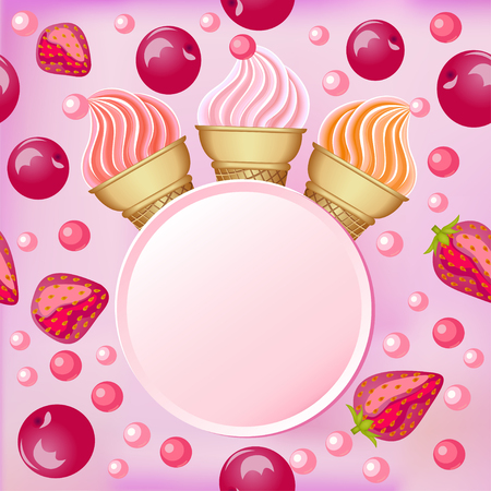 berry fruit: Sweet background with a set of strawberries and cherries and place for text
