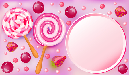 sweet background: Sweet fruit beautiful background with strawberries and cherries and chocolates candies and place for text