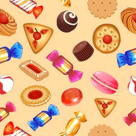 sugar cookies: illustration seamless background with candies and biscuits