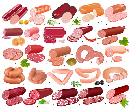 meat: illustration set of different kinds of sausage and spices pepper onions and olives